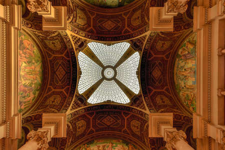 Barcelona, Spain - November 29, 2016: Ornate ceiling of Post and Telegraph building in Barcelona, Catalonia, Spain. Editorial