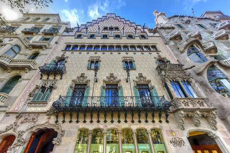 Barcelona, Spain - November 28, 2016: Facade of the Casa Amatller, a building in the Modernisme style in Barcelona, designed by Josep Puig i Cadafalch.