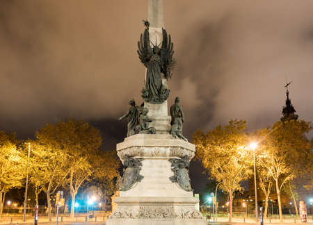 francesc: Francesc de Paula Rius i Taulet statue at Lluis Companys Promenade in Barcelona, Spain at night.