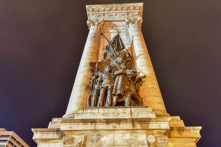 Soldiers and Sailors Monument at Clinton Square in downtown Syracuse, New York State, at night. Editorial