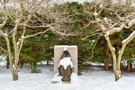 hereafter: The Mystery of the Hereafter by Saint-Gaudens in Saint-Gaudens National Historic Site in New Hampshire. Stock Photo