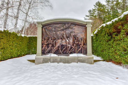 Shaw Memorial at Saint-Gaudens National Historic Site in New Hampshire in winter. Editorial