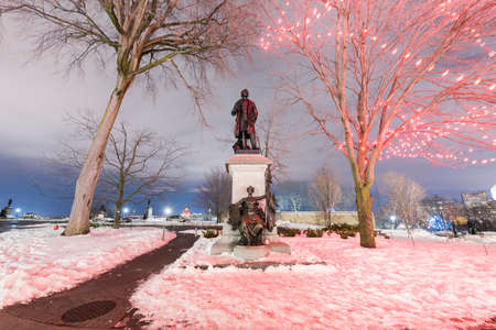 macdonald: Monument to Canadas first Prime Minister and one of the Fathers of Confederation, Sir John A Macdonald. Stock Photo