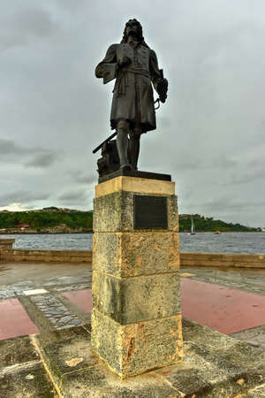 Monument to Pierre Le Moyne dIberville in Havana, Cuba who was a soldier, ship captain, explorer, colonial administrator, knight of the order of Saint-Louis, adventurer, privateer, trader. Editorial