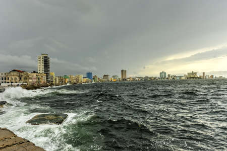 The Malecon (officially Avenida de Maceo) is a broad esplanade, roadway and seawall which stretches for 8 km (5 miles) along the coast in Havana, Cuba.