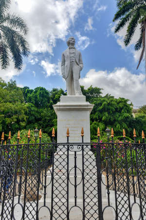 Statue to Carlos Manuel de Cespedes in Old Havana. Cespedes in considered the Father of the Cuban Nation. He freed the slaves and incited the insurrection against colonialism
