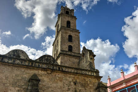 San Francisco church and its adjacent square in Old Havana, a famous touristic landmark on the colonial city. Stock Photo