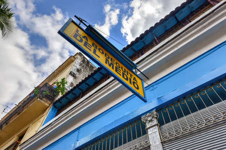 Havana, Cuba - January 8, 2017: La Bodeguita del Medio in Havana.Since its opening in 1942, this famous restaurant has been a favorite of Ernest Hemingway and Pablo Neruda among other personalities