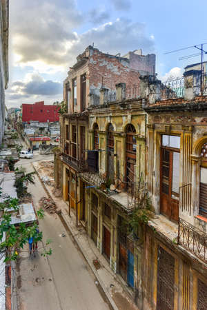 the collapsing: Old building in the process of collapsing in the Old Havana neighborhood of Havana, Cuba.
