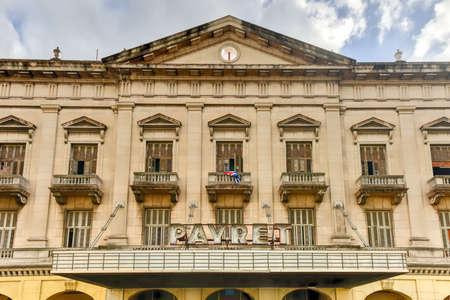 Havana, Cuba - January 8, 2017: The famous Payret building in Havana, the largest movie theater Cuba.