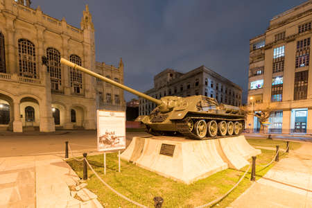 Havana, Cuba - January 8, 2017: Soviet tank in front of the Museum of the Revolution in Havana. The palace was the headquarters of the Cuban government for 40 years. Editorial
