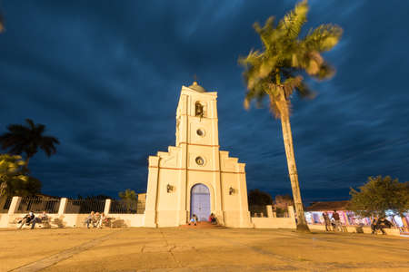 Sacred Heart of Jesus Church (Iglesia del Sagrado Corazon de Jesus) in Vinales, Cuba at dusk.