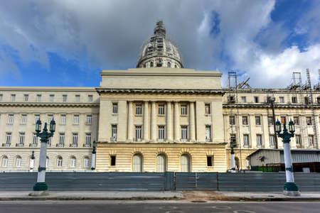capitolio: Rear view of the National Capital Building (El Capitolio) in Havana, Cuba. Stock Photo