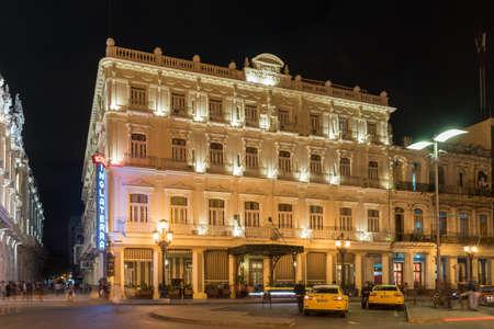 capitolio: Havana, Cuba - January 8, 2017: The historic Hotel Inglaterra near the Central Park in Havana, Cuba. Editorial
