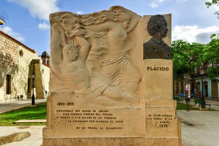 Monument to Cuban poet of African descent Gabriel de la Concepcion Valdes - Placido, exterminated in the racist massacre of 1844.
