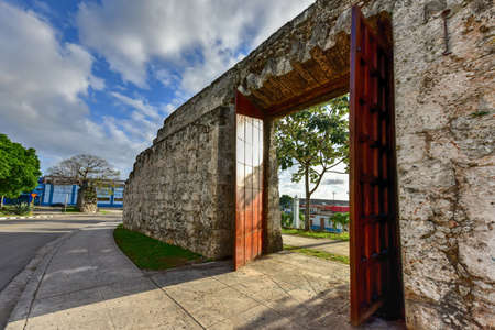 Remains of the old city wall (la Muralla) and entrance built during Spanish colonial times in Havana, Cuba.