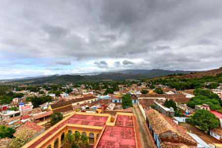 Panoramic view over the old part of Trinidad, Cuba, a UNESCO world heritage site. Stock Photo