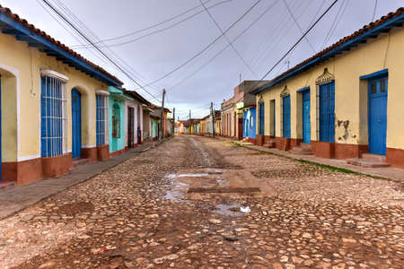typical: Colorful traditional houses in the colonial town of Trinidad in Cuba, a UNESCO World Heritage site.