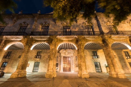 Palacio de los Capitanes Generales on Plaza de Armas square in Havana Vieja at night. It is the former official residence of the governors (Captains General) of Havana, Cuba. Stock Photo