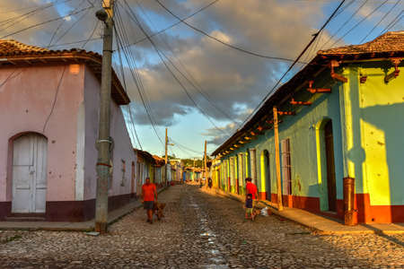 typical: Trinidad, Cuba - Jan 12, 2017: Colorful traditional houses in the colonial town of Trinidad in Cuba, a UNESCO World Heritage site. Editorial