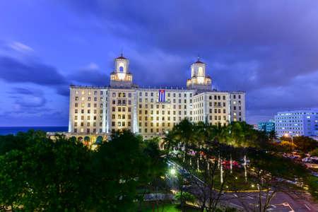 Aerial view of the National Hotel at dusk in Havana City, Cuba Redakční