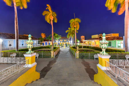 Plaza Mayor in the center of Trinidad, Cuba, a UNESCO world heritage site. Stock Photo