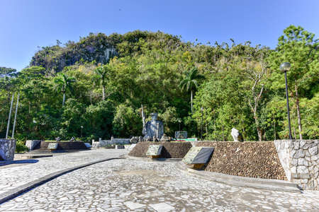 Memorial to Los Malagones from the community of El Moncada, the first rural militia in Cuba. It comprised 12 men who rooted out a counterrevolutionary band from the nearby mountains in 1959.