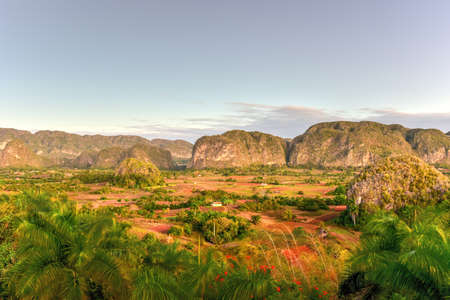 Panorama of sunrise in the Vinales Valley, north of Cuba. Stock Photo