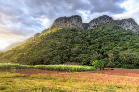 Panorama of sunset in the Vinales Valley, north of Cuba.