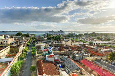 colonial church: Panoramic view over the city of Cienfuegos, Cuba.