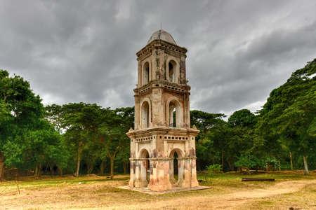 Ruins of the slave tower of the once grand sugar mill Ingenio San Isidro de Los Destiladeros in the Valle de los Ingenios, Trinidad, Cuba