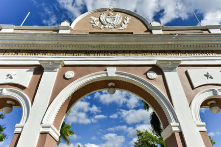 The Arch of Triumph in Jose Marti Park, Cienfuegos, Cuba. The arch is a monument to Cuban independence.
