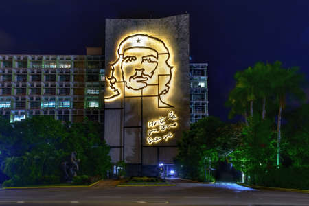 Portrait of Che Guevara on the Ministry of the Interior by the Plaza de la Revolucion in Havana, Cuba at night.
