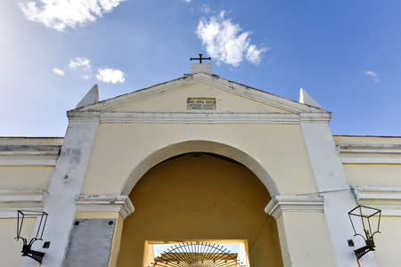 soldiers: Entrance to the Reina Cemetery in Cienfuegos, Cuba. This cemetery contains the tombs of Spanish soldiers died during the 19th century freedom fight in Cuba. Stock Photo