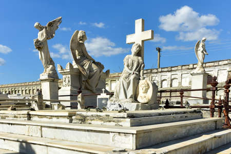 Reina Cemetery in Cienfuegos, Cuba. This cemetery contains the tombs of Spanish soldiers died during the 19th century freedom fight in Cuba. Stock Photo