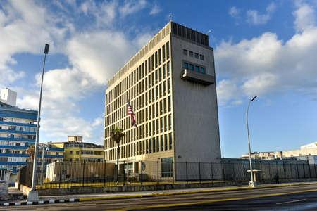 Havana, Cuba - Jan 15, 2017: The Embassy of the United States of America in Havana, Cuba.