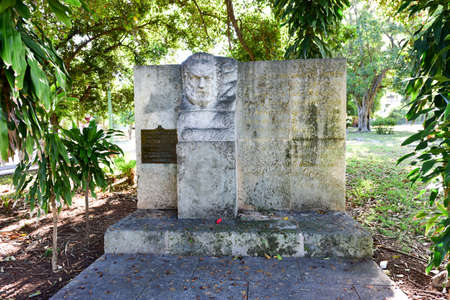 Victor Hugo Park and the monument in his memory surrounded by ceiba trees in Havana, Cuba.