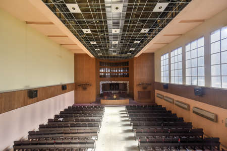 jewish community: Havana, Cuba - Jan 15, 2017: Temple Beth Shalom, built in 1952, is a synagogue located in the Vedado neighborhood of downtown Havana, Cuba. Editorial