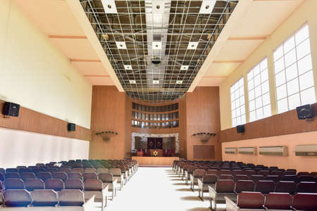Havana, Cuba - Jan 15, 2017: Temple Beth Shalom, built in 1952, is a synagogue located in the Vedado neighborhood of downtown Havana, Cuba. Editorial