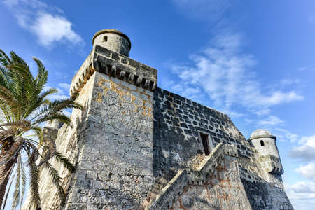 The Spanish fort, Torreon de Cojimar, in Cohimar, Cuba. Cojimar is a small fishing village east of Havana. It was an inspiration for Ernest Hemingways famous novel The Old Man and the Sea.