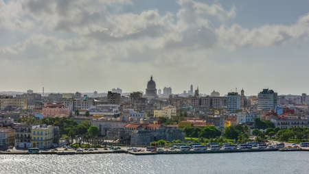 capitolio: Panoramic view of Old Havana across the bay in Cuba.