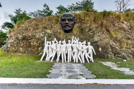 Colina Lenin - a bronze sculpture of Lenin from 1984 in Regla, Havana. Surrounding the bronze sculpture are twelve white human figures, symbolizing solidarity with the October Revolution in Russia.