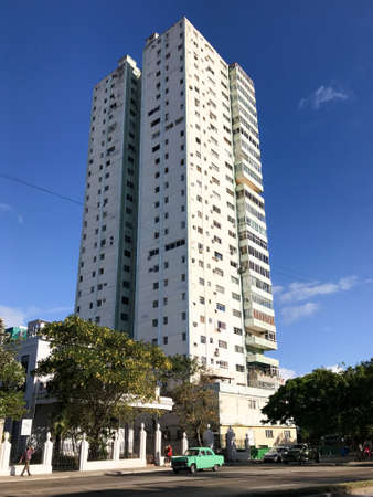 A typical apartment tower in the Vedado district of Havana, Cuba.