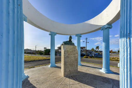 hemingway: Bust to Ernest Hemingway in Havana, Cuba. He is remembered by Cojimar with a small gazebo that encircles a commemorative bust, sculpted from the melted down propellers donated by local fishermen.