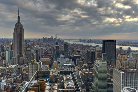 Aerial view of Midtown and Downtown Manhattan, New York City.