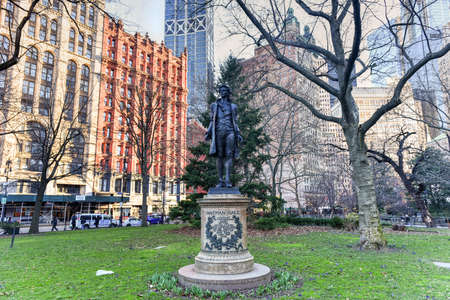 Monument to Nathan Hale, a 13-foot standing bronze figure, which directly faces City Hall and honors the last moments of the 21-year-old American Revolution era spy, Nathan Hale.