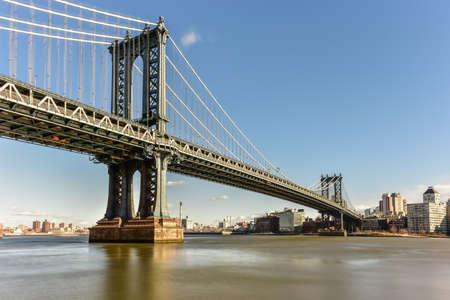 The Manhattan Bridge as seen from the Manhattan side in New York City.