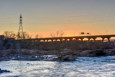 downstream: James River Park by the Pipeline Walkway in Richmond, Virginia, USA