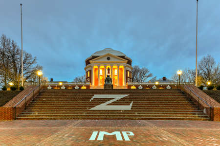 The University of Virginia in Charlottesville, Virginia at night. Thomas Jefferson founded the University of Virginia in 1819.