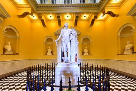 Richmond, Virginia - Feb 19, 2017: Monument to George Washington in the rotunda in the Virginia State Capitol in Richmond, Virginia. Editorial